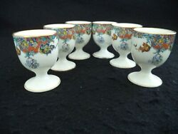 French Haviland China 6 Egg Cups Coddlers Red Blue Yellow Border Gold Limoges