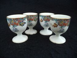 French Haviland China 4 Egg Cups Coddlers Red Blue Yellow Border Gold Limoges