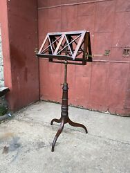 Antique 1800s Cherry Double Sided Book Dictionary Stand Study Office Country