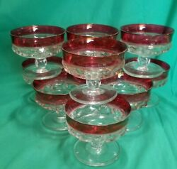 10 Ruby Flash Cranberry Red Kings Crown Thumbprint Footed Sherbet Glasses/dishes