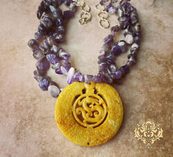Aimee Fuller Statement Necklace Carved Yellow Gold Jade Pendant Purple Amethyst
