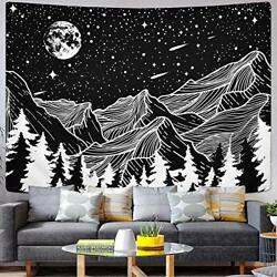 Moon and Star Tapestry Mountain Tapestry Forest Tree Tapestries Starry Night Sky
