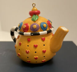 Mary Engelbreit Miniature Teapot Ornament 2-1/2 Red Hearts On Yellow Pot Sweet