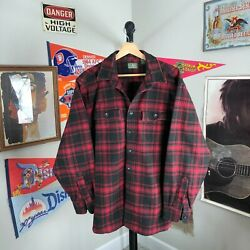 Vintage Ll Bean Chamois Flannel Button Down Shirt Red Buffalo Plaid Menand039s Large