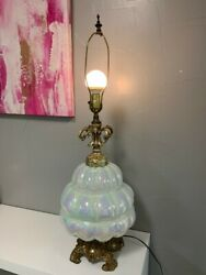 Vintage Mcm Ef Ef Industries Glass Iridescent Opalescent Beehive Table Lamp 3'