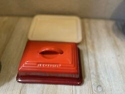 Le Creuset Stoneware Cerise Red 2 Piece 1/4 Lb Butter Dish Lid And Bottom Set