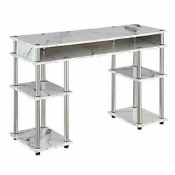 Designs2go Tools Student Desk With Shelves, L 47.25 In. X W White Marble