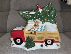 Blue Sky Heather Goldminc Holiday Collection Truck Christmas Tree Cookie Jar New