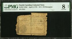 North Carolina Colonial Currency Frnc-155d April 2 1776 1/4 Pmg 8 5 Known