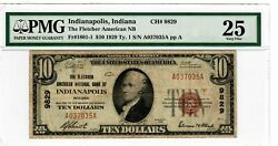 1929 10 Fr.1801-1 Indianapolis In Pmg Vf-25 Us Brown Seal Depression Money 9014