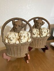 Vintage Pair Of Ornawood Wall Plaques With 3 Terrier Dogs In Basket Made In Usa