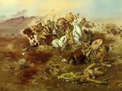 Indian Fight By Charles Russell Western Art + Free Shipping