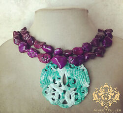 Sea Foam Mint Green Carved Jade Pendant Purple Turquoise Howlite Necklace Chunky