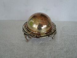 Antique/vintage[ England Silver Plate ] Butter Dome Roll Top Dish Bowl