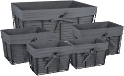 Dii Farmhouse Chicken Wire Storage Baskets With Liner, Set Of 5, Vintage Gray,