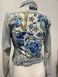 Handmade Denim Jean Jacket Size S Embellished Back With Crystals Seed Beads New