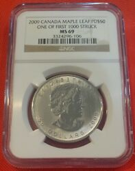 2009 Canada Maple Leaf Palladium One Of First 1000 Struck Ngc Ms69