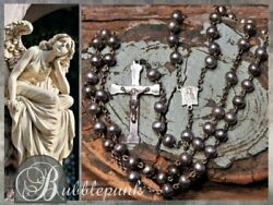 Vintage Sterling Silver Bead Anddagger Catholic Rosary Anddagger Miraculous Mary Centerpiece