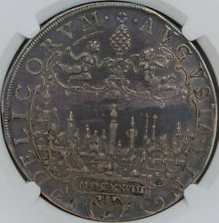 Germany Augsburg 1628 City View Thaler, Ngc Au50, Spectacular Cabinet Toning