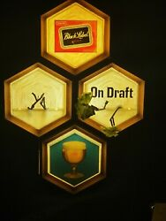 Vintage 1967 Carling Black Label Beer Bar Light 4 Hexagon Wall Sign Ice Cold