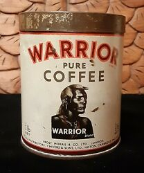 Rare Vintage Warrior Pure Coffee 1/2 Lb Tin Can Canister England-htf