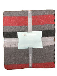 Roca Home Cotton Blanket Red Charcoal And Grey Stripes Queen Made In Portugal