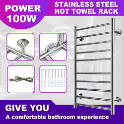100w 10 Heated Bars Hot Towel Warmer Electric Drying Rack Stainless Steel Usa
