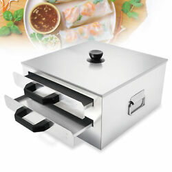 2 Layer Steaming Tray Food Kicthen Rice Roll Steamer Machine Stainless Steel