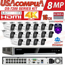 Hikvision 16ch Security Cctv System 16poe Nvr 4mp Network Ir Ip Bullet 2.8mm Lot