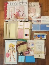 Vintage Lot Of 1970s 80s Tomy Fashion Plates + Flip And Fold Fashions