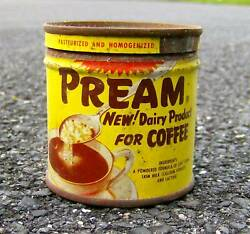 Rare Vintage 1950s Tin Pream Dairy Product/creamer For Coffee Retro Graphics Old