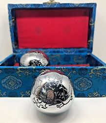 Vintage Baoding Shouxing Chinese Iron Medicine Balls, Chimes, Dragon, With Box