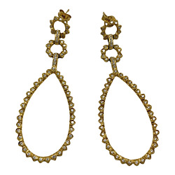 Dominique Cohen Lg 14k 585 Yellow Gold Hoops With Diamonds Earrings 8.23g