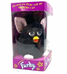 1998 Furby Black Witch's Cat Blue Eyes 70-800 Vintage Pink Ears