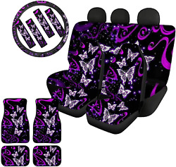 Wellflyhom Butterfly Car Seat Covers And Floor Mats Full Set Front Rear Seat And