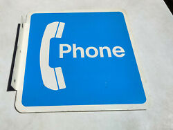 Vintage Pay Phone Sign 18 X 18 Metal Blue White Scuffing Flanged Bent Corner