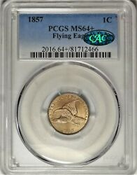 1857 1c Pcgs Ms 64+ Cac Near Gem Plus Uncirculated Unc Flying Eagle Type Coin