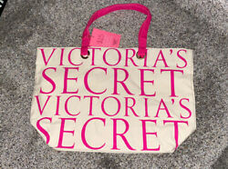 victoria secret vintage beach tote canavs beige pink NWT free Shipping $15.00