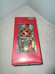 Waterford Holiday Heirlooms Alana Ornament Ball Set Of 2 Christmas Poland Le