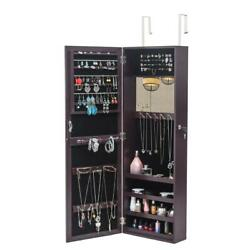 Large Capacity Led Jewelry Organizer Cabinet Wall/door Mounted Armoire W/ Mirror