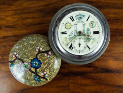 Antique 19th C Cloisonne Pocket Mantle Watch Freemasons Hand Painted Dial
