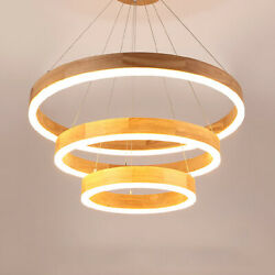 Modern Wood Led Chandelier Tiered Decoration Circular Ring Acrylic Pendants Lamp