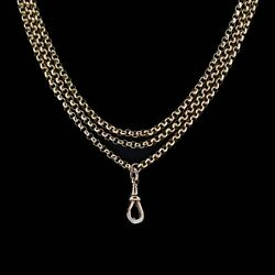 Antique Victorian 9ct 9k Gold Faceted Belcher Guard Muff Chain Necklace 39.2g