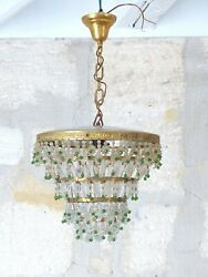 Antique Ceiling Rare Green Glass Prisms Drops Murano 1940 Vintage Chandelier