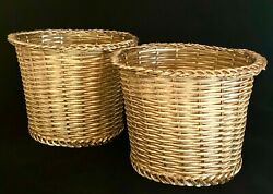 Vintage Pair Woven Gold Wire Work Baskets, Flower Pots, Braided Edges And Rims