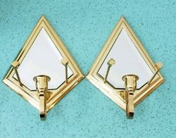 Vintage 1980s Partylite Wall Mounted Brass And Mirror Sconce Candle Holders