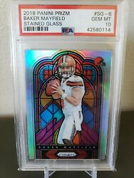 2018 Panini Prizm Baker Mayfield Stained Glass Rc Rookie Psa 10 Gem Mint