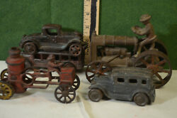 5 Cast Iron Toys,1910-1930,arcade Fordson Tractor, Bus,fire Engine,2 Cars