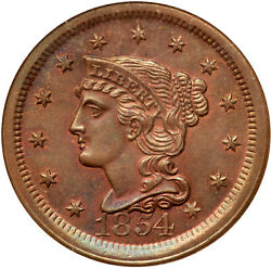 1854 N-11 R-2 Ngc Ms 64 Rb Braided Hair Large Cent Coin 1c