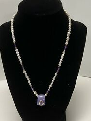 """Purple Lavender Jade And Pearl Necklace 18"""" With 14k Accents"""